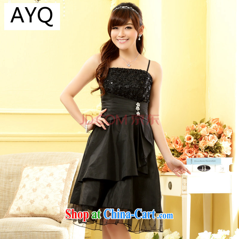 AIDS has been in Europe and their high-end ladies toast bare shoulders beauty Evening Dress small short annual dinner dress B 9609 - 1 black are code