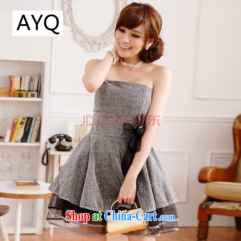AIDS has been Qi temperament sweet Princess Mary Magdalene chest dress dresses evening dresses and elegant evening dress small dress _the invisible shoulder strap_ 9213 A - 1 silver XXL