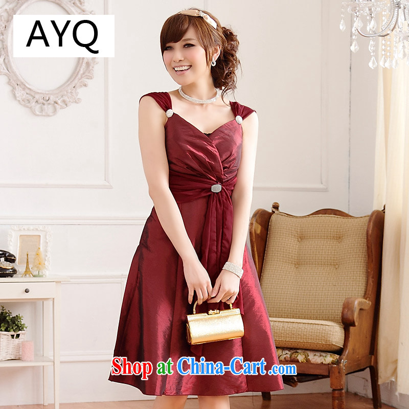 AIDS has been Ki-won late version with bare chest thin waist cultivating V collar XL dress skirt strap with sister _diamond can be removed with wrapped chest_ 9506 A - 1 wine red XXL