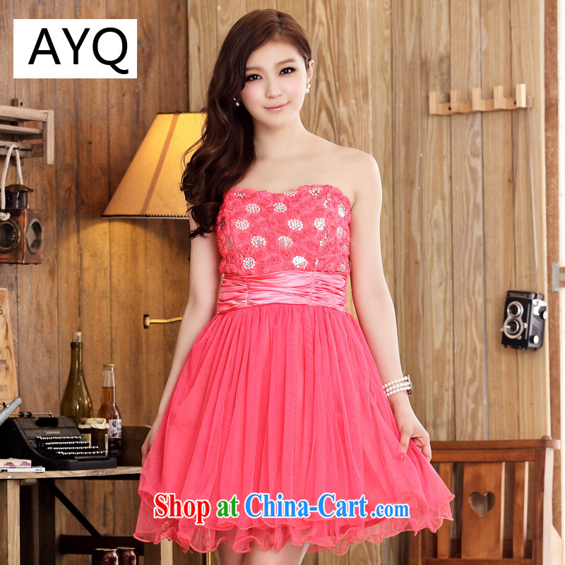 AIDS has been Qi Korean version, the dresses dresses shaggy skirts wiped chest sister bridesmaid dress _the stealth shoulder strap_ 9100 A - 1 the red XXL