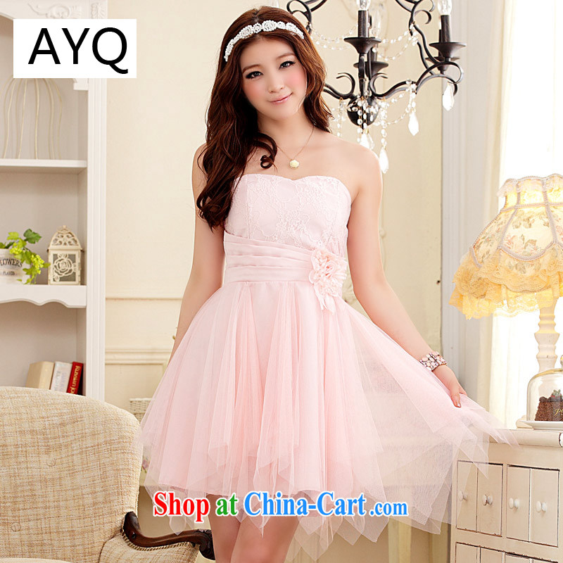 AIDS has been Qi short erase chest small dress sweet Web yarn Princess skirt dresses the betrothal small dress _the invisible_ 9103 A - 1 pink XXL