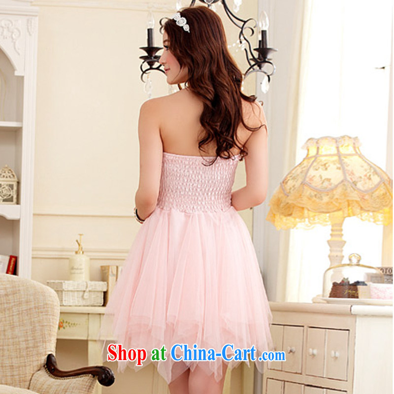 AIDS has been Qi short erase chest small dress sweet Web yarn Princess skirt dresses the betrothal small dress (the invisible) 9103 A - 1 pink XXL, AIDS has Qi (Aiyaqi), online shopping