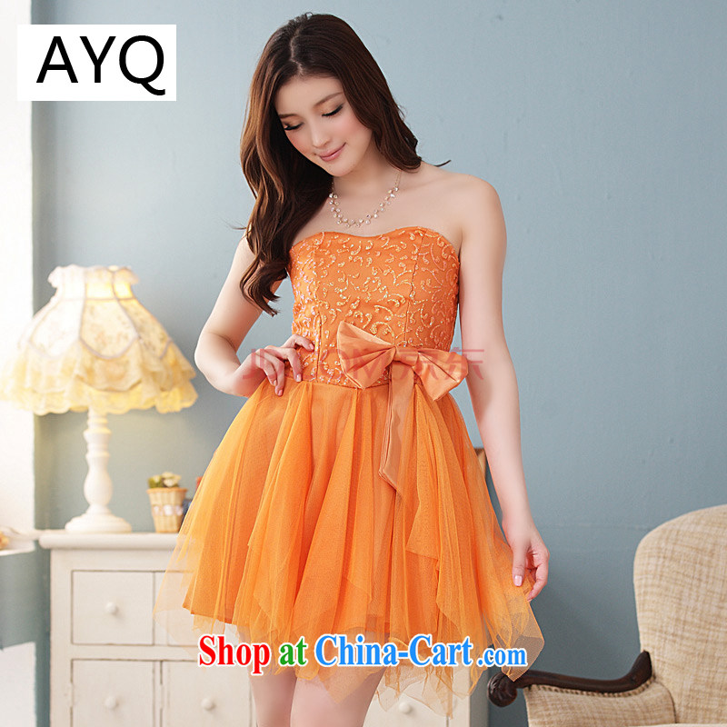 AIDS has been Qi summer maximum code thick sister dance evening dress small dress skirt wrapped around his chest dress does not rule out the shaggy skirts 9102 A - 1 orange color code