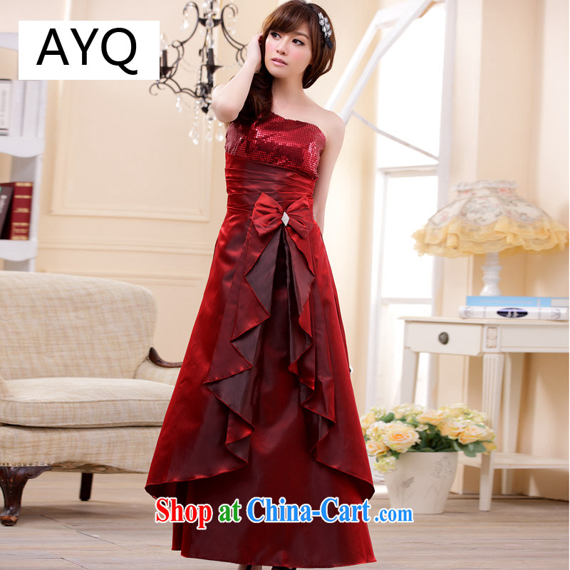 AIDS has been Qi bridesmaid wedding dress single shoulder toast Dinner served with with long, double-coat skirt 9202 A - 1 Magenta XXL