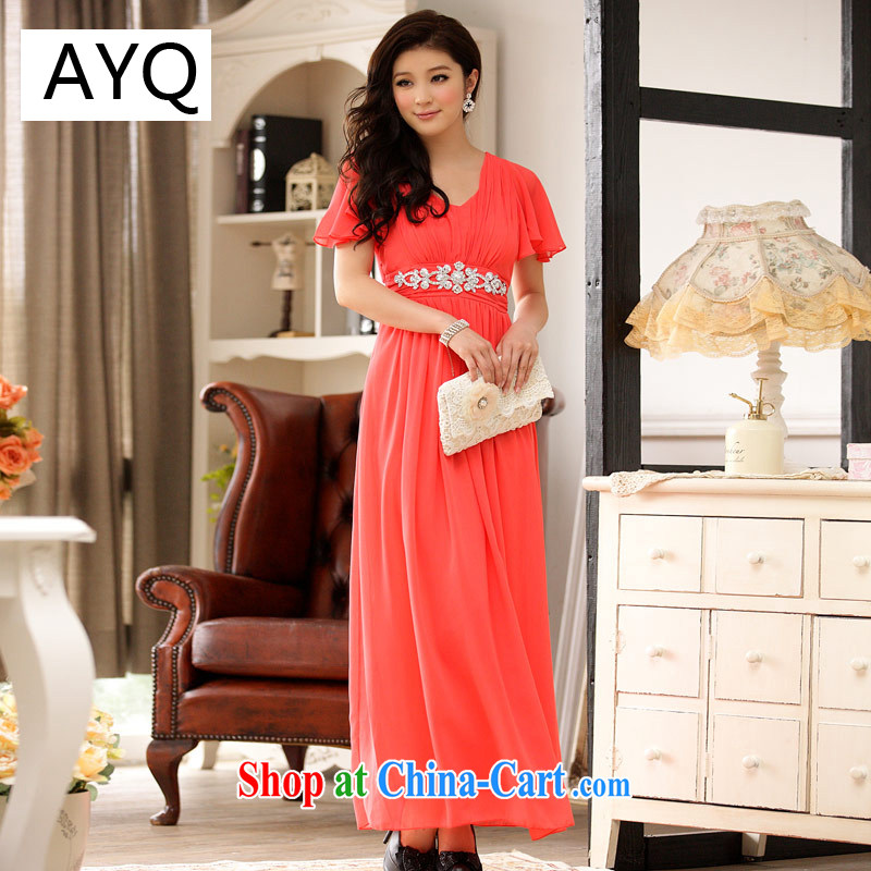 AIDS has been Qi larger diamond-cultivating waist cuff flouncing elegant long skirt snow woven dress dresses 9200 A - 3 orange XXL