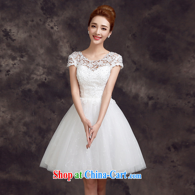 A good service is 2015 new spring and summer bridesmaid's sister's Korean-style bridal wedding dress small dress uniform toasting white M