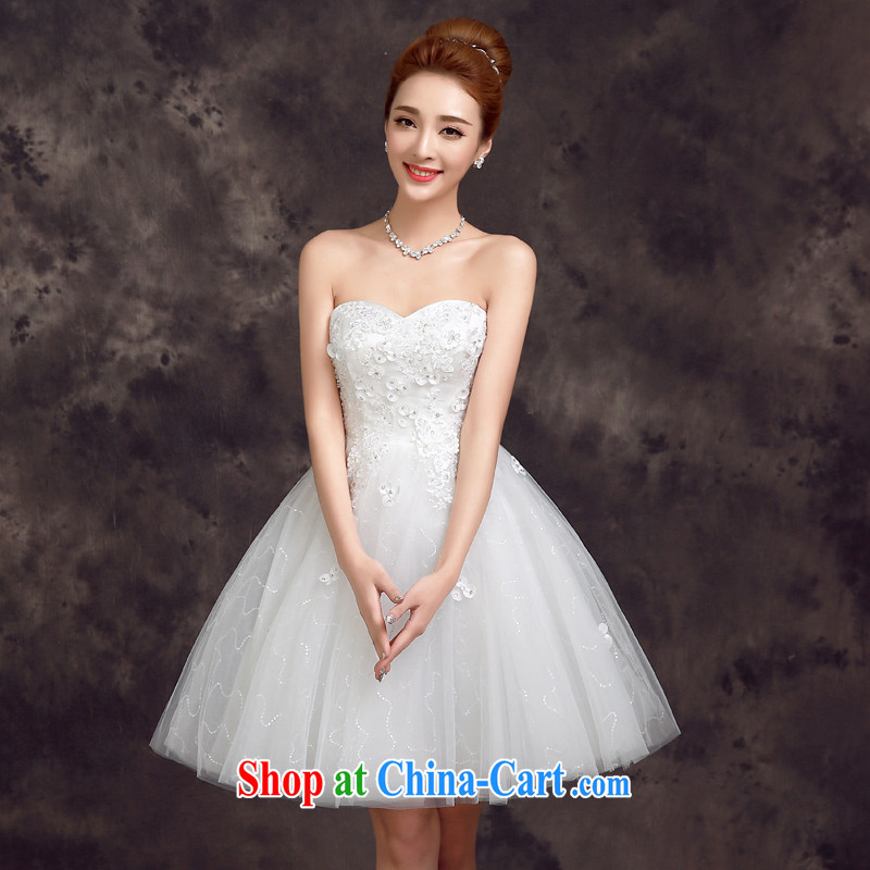 A good service is 2015 new spring and summer bridesmaid's sister's bridal wedding dress short, small dress uniform toasting white S