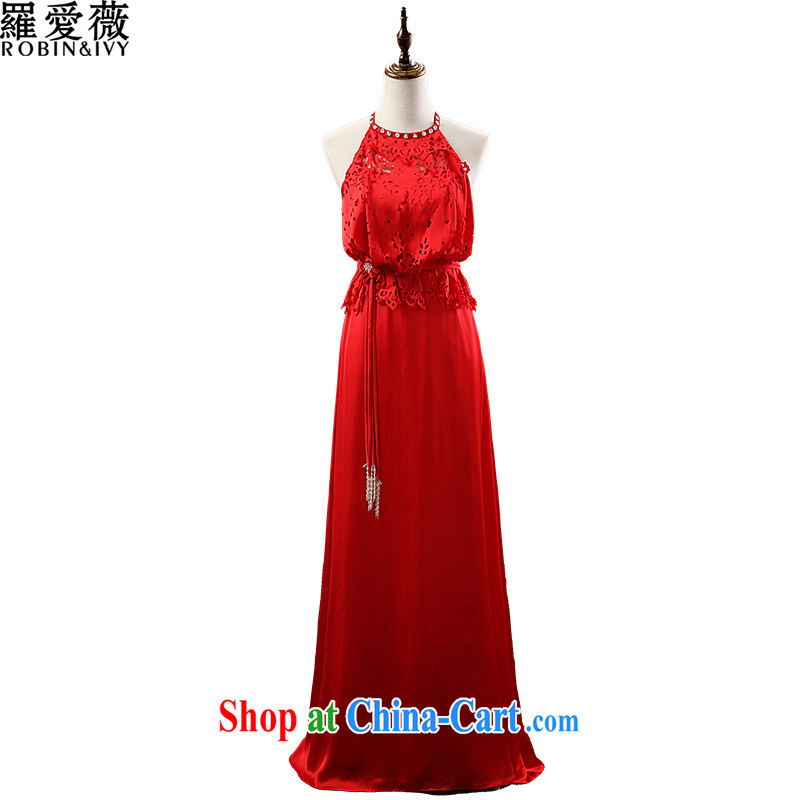 Love, Ms Audrey EU Yuet-mee, RobinIvy) dress new 2015 spring and summer is also a sleeveless Openwork long evening dress bows dress L 13,794 red XL