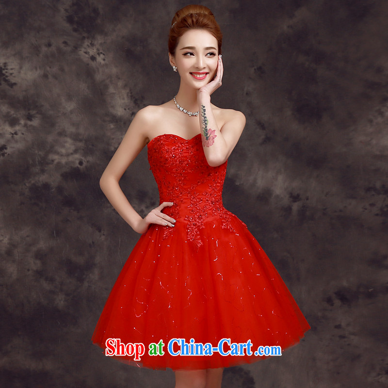 A good service is 2015 new spring Korean bridal wedding dress bridesmaid's sister in short, small banquet dress red 2 XL