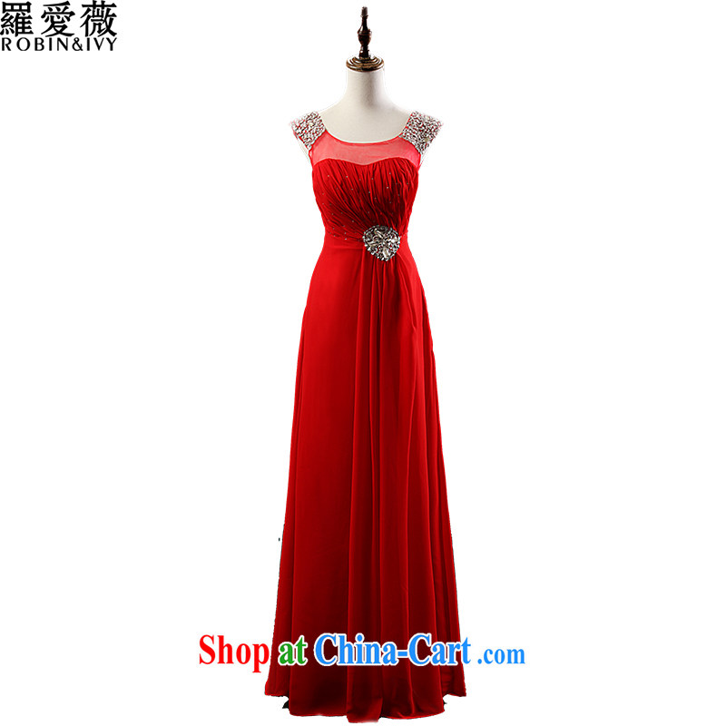 Love, Ms Audrey EU Yuet-mee, RobinIvy) dress new 2015 spring and summer shoulders diamond jewelry long with evening dress bows dress L 13,789 red XL