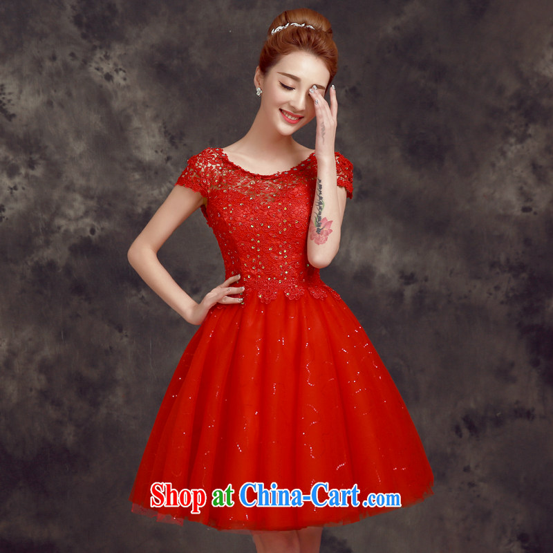 A good service is 2015 new spring and summer short bridesmaid's sister's bridal wedding dress small dress uniform toast red 2 XL