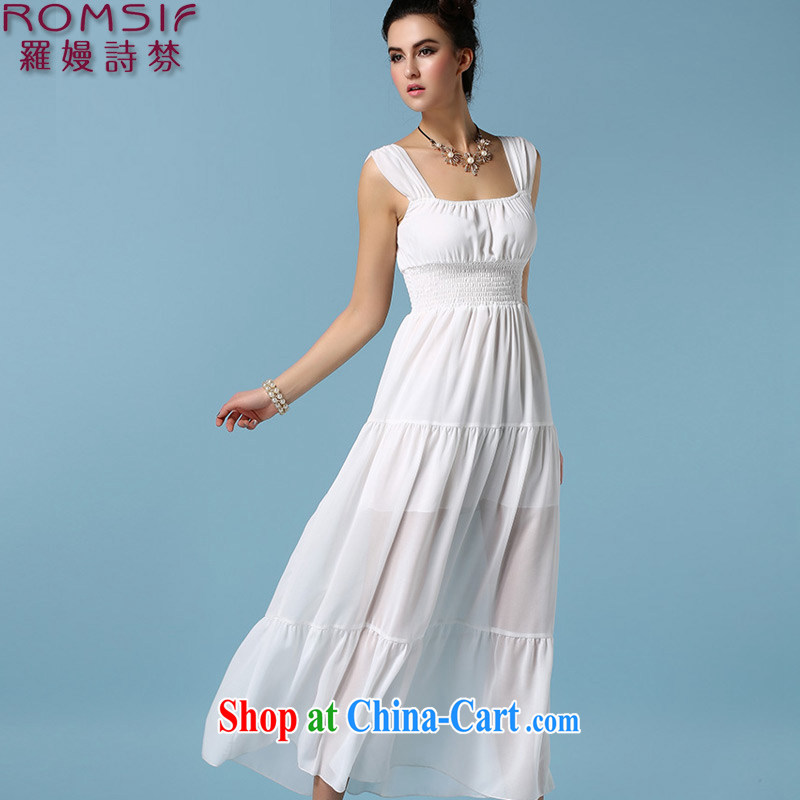 Golden Harvest, poetry helped Connie to pack 2015 new elegant ladies snow woven dress dresses bare chest wrinkles the waist long skirt dress 8.002045 billion white L