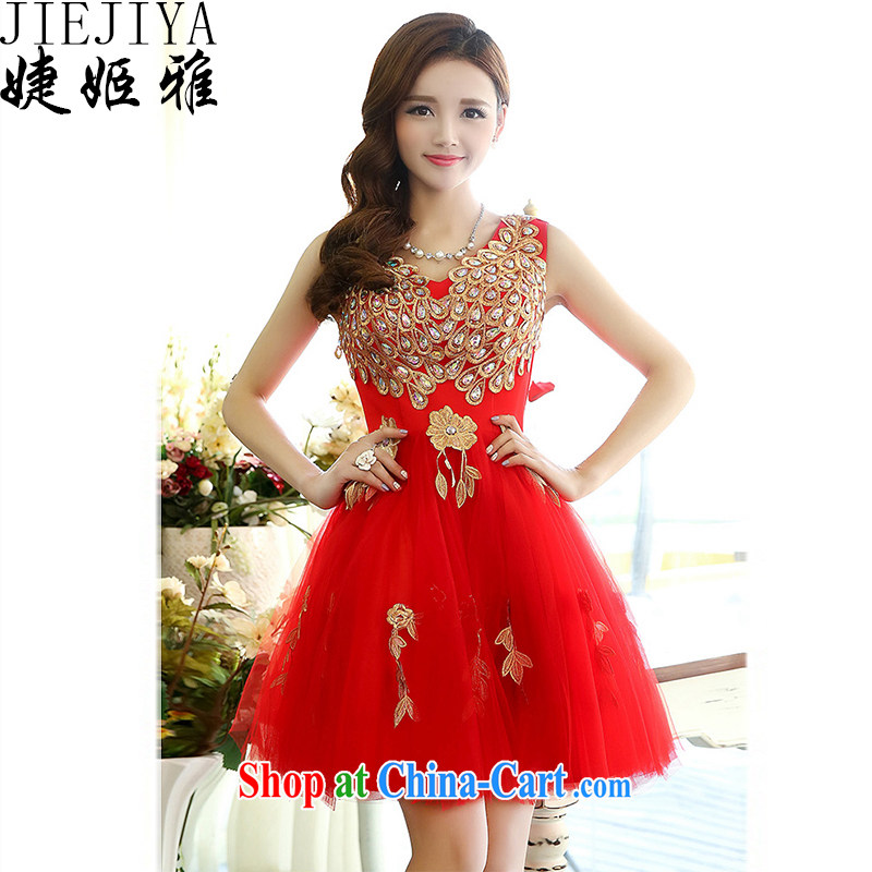 With Jacob her dress dresses 2015 spring new V-neck Style Standard Peacock figure marriages served toast short bridesmaid wedding evening dresses show red M