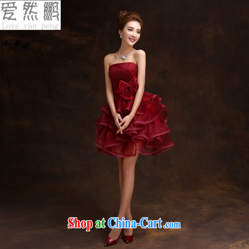 Love so Peng 2015 new bridesmaid dress short marriage, autumn and winter the betrothal moderator evening dress bridal red bows dress wine red customers to size the Do Not Support RMA