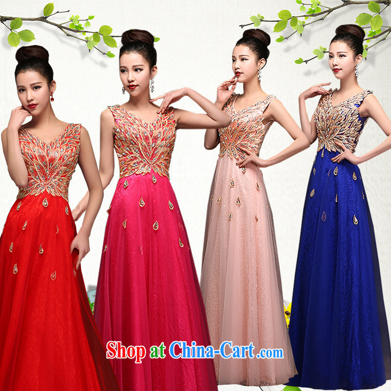 Hi Ka-hi 2015 new bows dress Korean double-shoulder dress V for the Annual Dinner Show dress skirt DJ 16 royal blue XXL