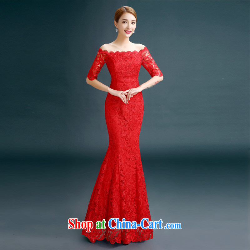 The beautiful 2015 spring and summer new marriages toast one field shoulder strap long crowsfoot lace Evening Dress red XXXL