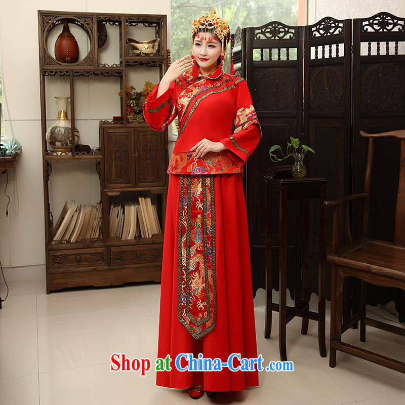 Moon �� guijin clothing female Sau Wo clothing retro improved Chinese wedding wedding dress bridal bride toast clothing clothing red XXL code from Suzhou shipping