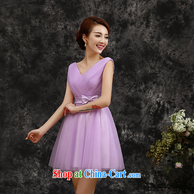 The beautiful 2015 spring and summer new short, Purple double-shoulder wedding bridesmaid dress Evening Dress dress bridesmaid with light purple S, beautiful, and shopping on the Internet