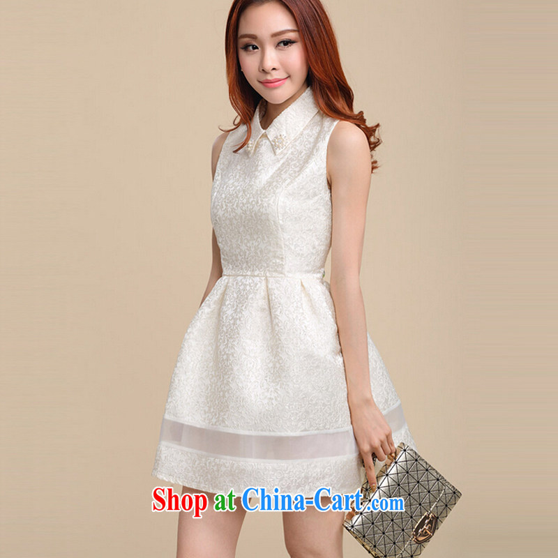 According to Chi-sun 2015 spring new Korean Beauty sleeveless bridesmaid dress dresses shaggy skirt white