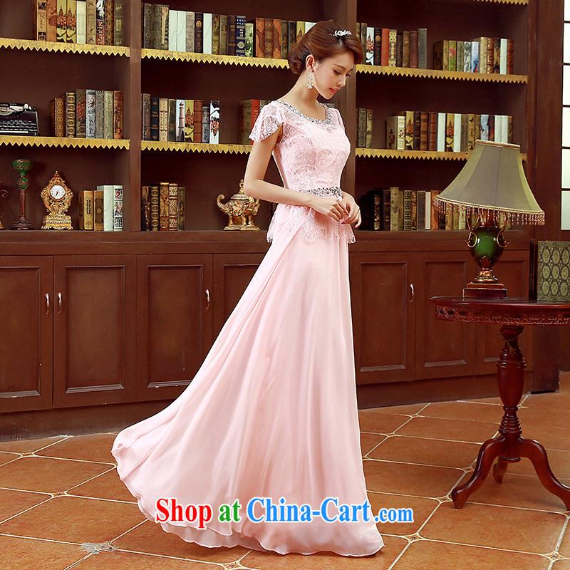 Korean fashion shoulders water drilling bridal bridesmaid mission red long marriage bows dress pink XL code