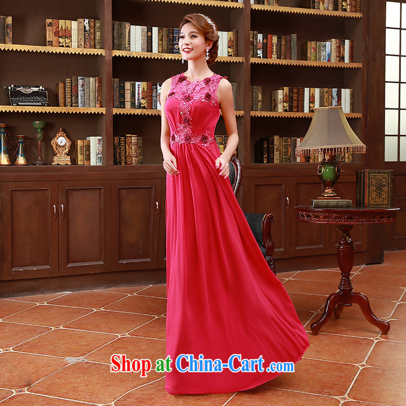 2015 Korean style double-shoulder strap with floral bridal bridesmaid mission red long toast wedding dress water red XL code
