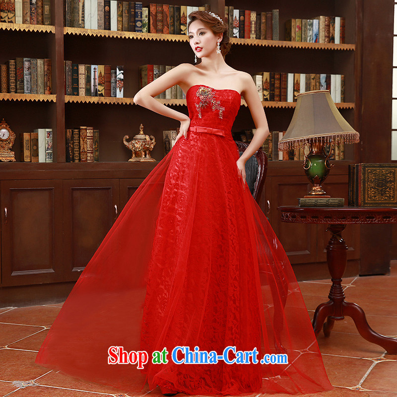 Korean version 2015 erase chest embroidered bridal bridesmaid mission red long marriage bows dress red XL code