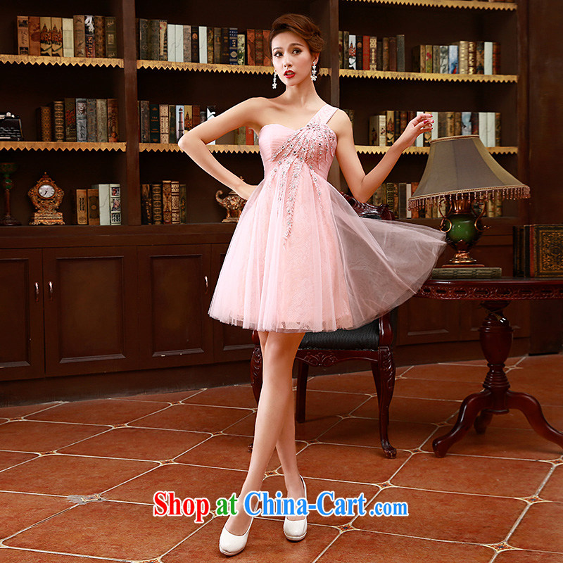2015 Korean style single shoulder straps bridal bridesmaid mission red short toast wedding dress pink XL code