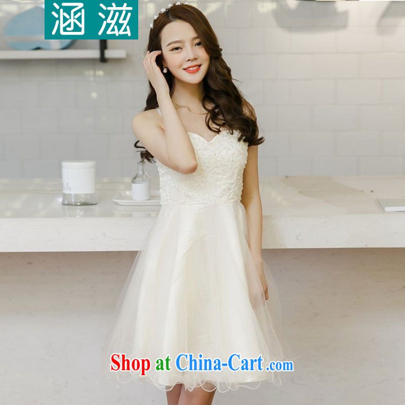 HIV_AIDS covered by dresses 2015 new summer Korean Beauty lifting the bead dress skirt bridesmaid skirt LY 334 white L