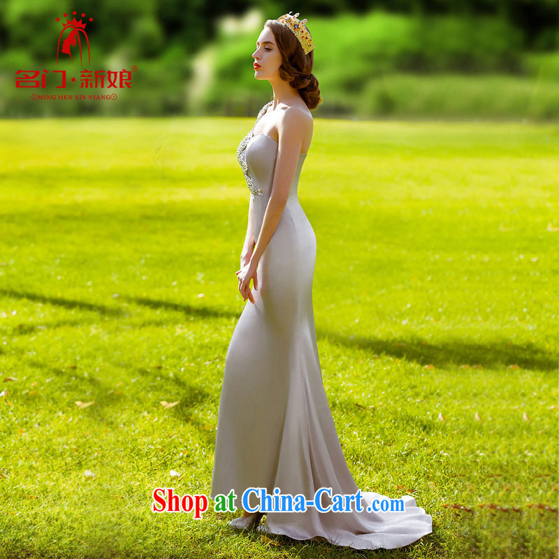 The bride 2015 New Silver elegant dress small tail dress single shoulder dress elegant 695 S