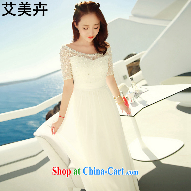 The American floral displays 2015 spring and summer new bridesmaid dress bridal toast dress beauty dress holiday dress graphics thin banquet dress white M