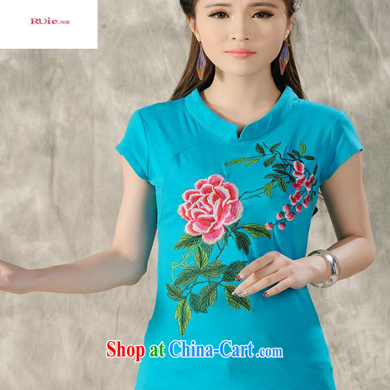 Close deals with clothing * X 3504 National wind women's clothing summer, Retro, for a tight embroidered cultivating short-sleeved cotton T red 4 XL