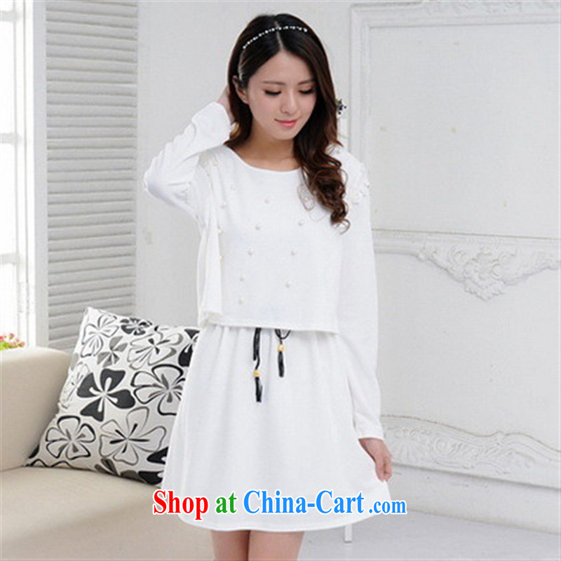 Health Concerns dress _ 2015 European and American new large, knitted with leave of two part kit autumn and winter skirts and dresses Korean fan Po blue are code
