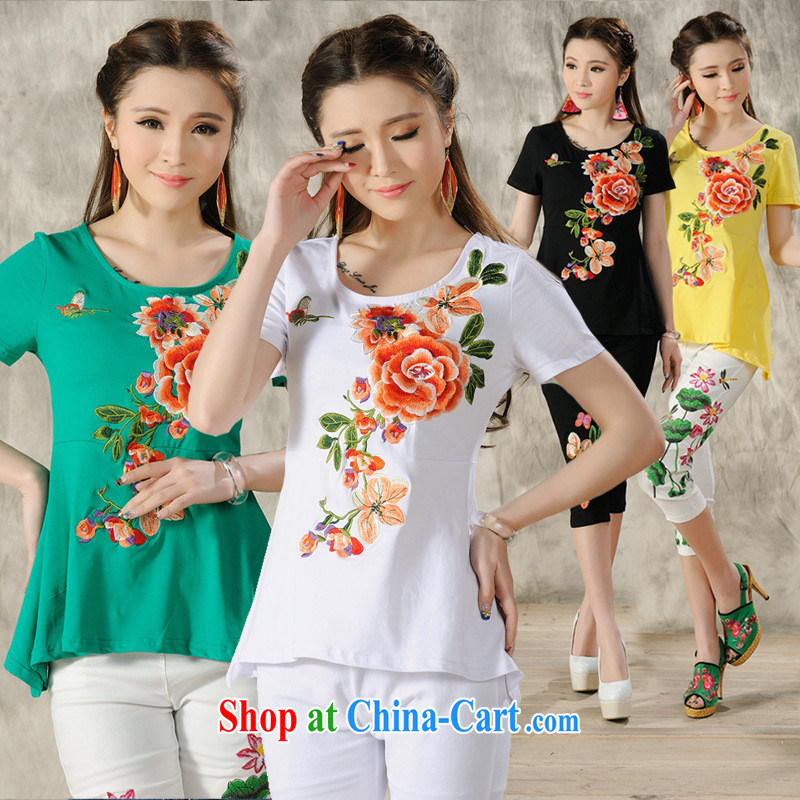 Health Concerns dress _ H 9488 National wind women's clothing 2015 spring and summer new embroidery is not rules, with a short-sleeved shirt T yellow 4 XL