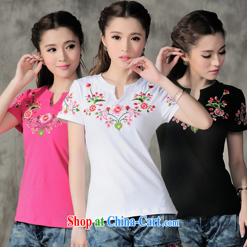 Health Concerns dress * C 6890 National wind women new embroidery, for V-neck Leisure Sports cotton short-sleeved shirt T black 3 XL