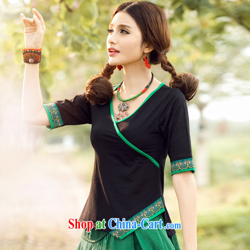 Health Concerns dress * C 6883 National wind women's clothing spring and summer new 10 field embroidery V for asymmetric cotton cuff in T pension green 3 XL