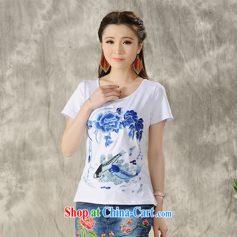 Health Concerns dress _ H 9605 National wind women's clothing 2015 spring and summer new cotton cultivating embroidered short sleeves shirt T white 4XL