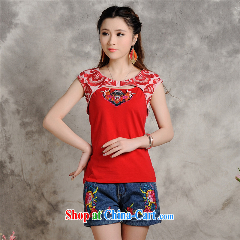 Close deals with clothing * W 8703 National wind women's clothing summer new embroidered stitching China Red cultivating short-sleeved shirt T white 2XL