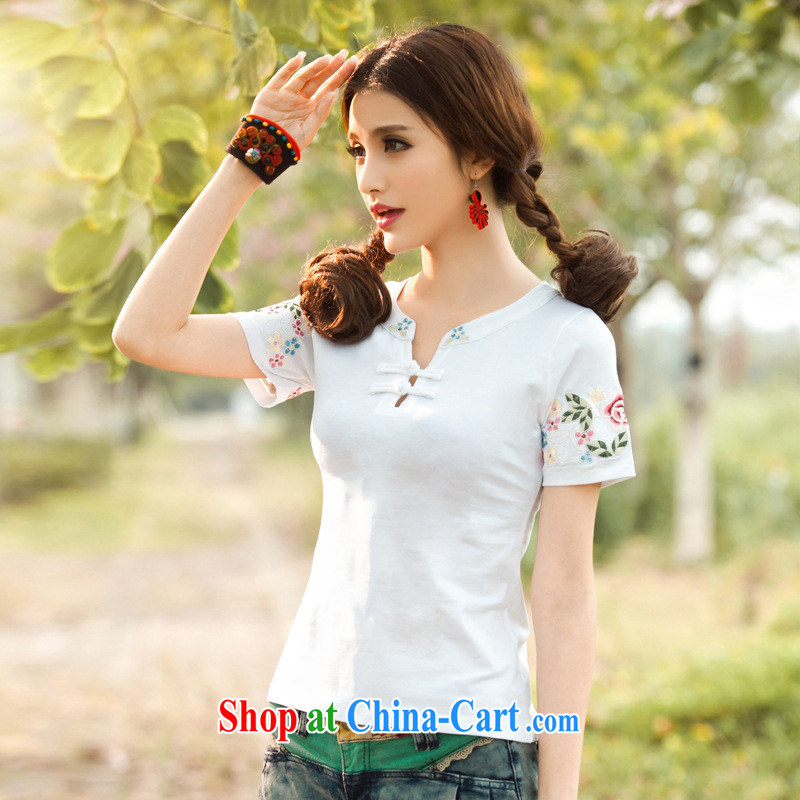Health Concerns dress _ C 6886 National wind Women New Tower small V collar embroidered a field for cultivating short-sleeved cotton T Po blue 3 XL