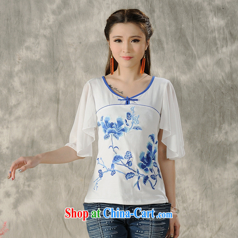 Health Concerns dress _ H 9496 National wind women's clothing spring and summer new embroidered stitching snow woven short-sleeved cultivating T pension white 4XL