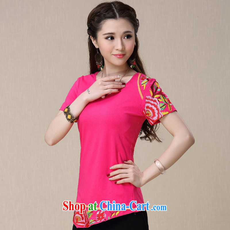 Health Concerns dress * BL 8960 National wind spring and summer new embroidered stitching does not rule out cultivating short-sleeved shirt T red 3XL