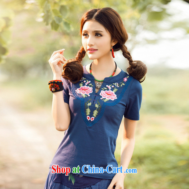 Health Concerns dress * C 6885 National wind women's clothing spring and summer new V field small, embroidery for cultivating short-sleeved cotton shirt T Po blue 3 XL