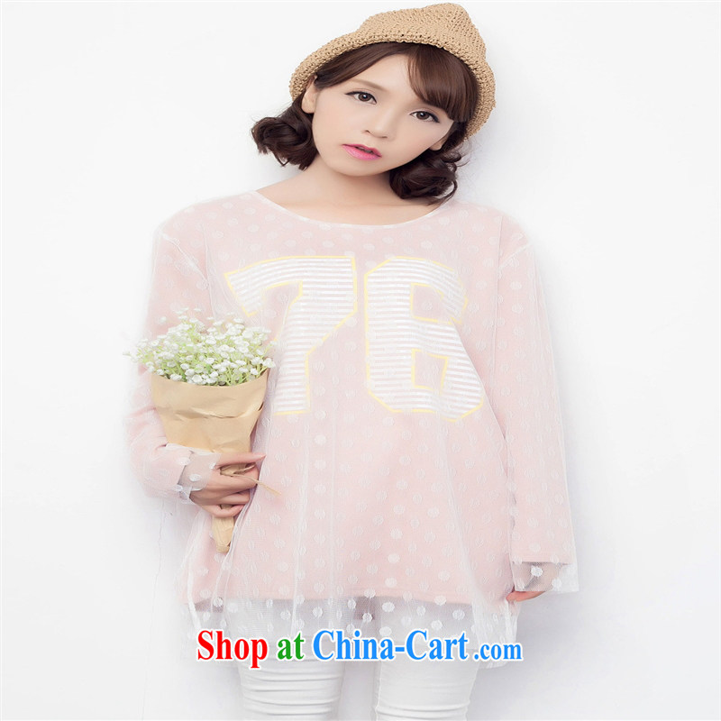 Health Concerns dress * 5255 #2015 spring new female round-collar Web yarn leave of two parts, long, solid lace shirt T shirts female pink are code