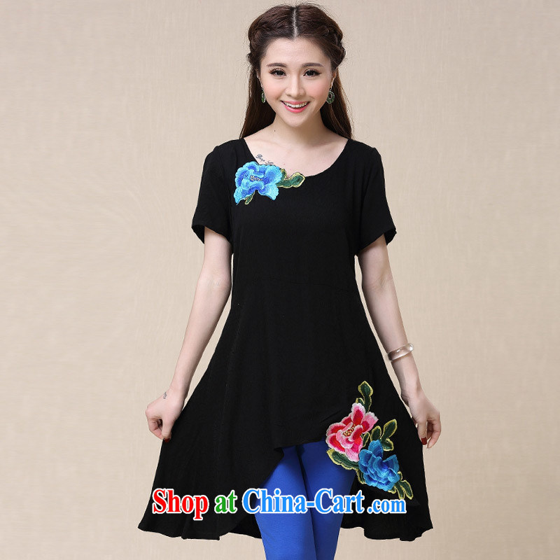 Health Concerns dress * BL 8560 National wind women's clothing spring and summer new, long, loose Embroidery is not rules skirt swing T black 2 XL