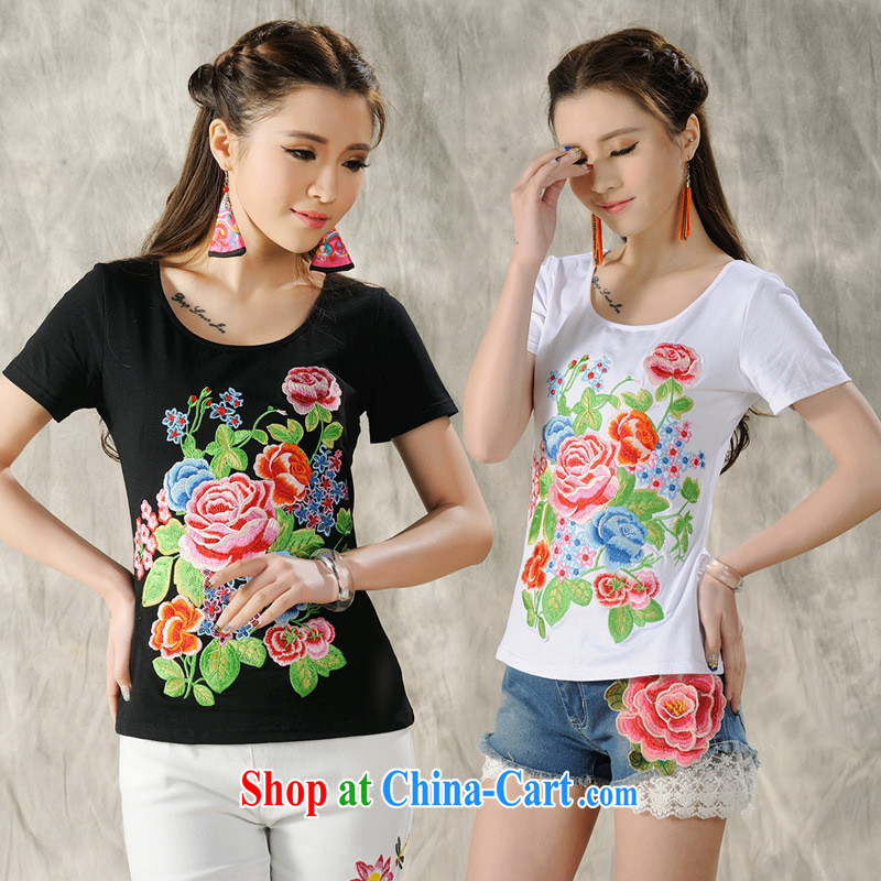 Health Concerns dress _ H 9490 National wind women's clothing 2015 spring and summer New Beauty embroidered cotton short-sleeved shirt T white 2XL