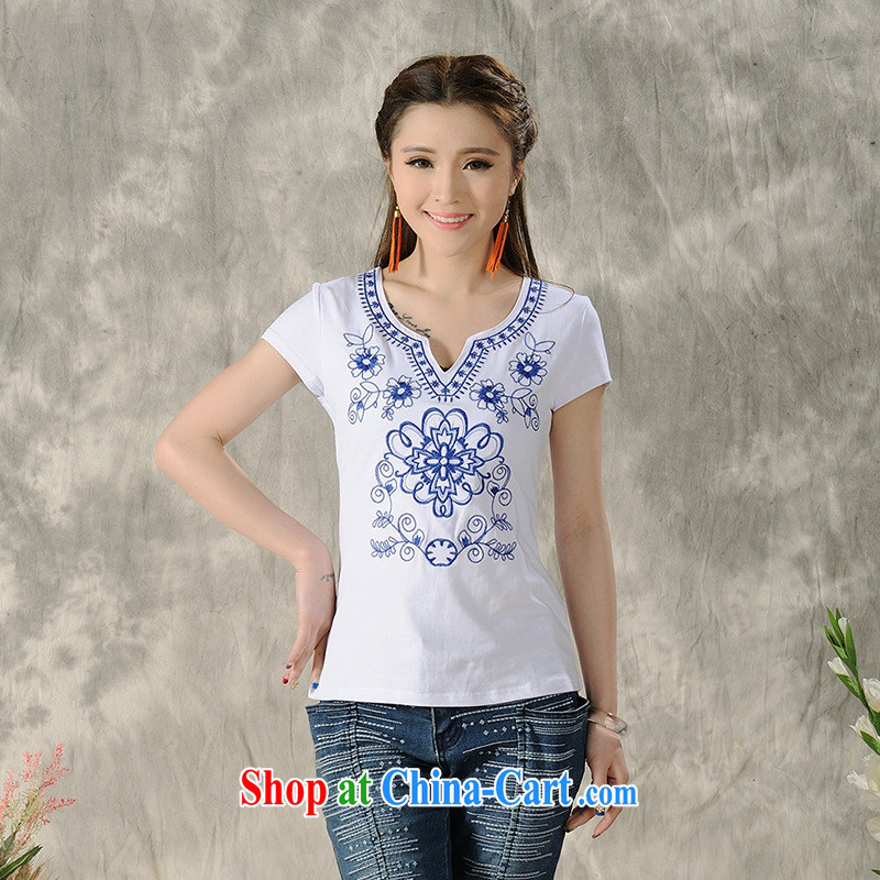 Health Concerns dress * H 9484 National wind women's clothing 2015 spring and summer new embroidery blue and white porcelain pure cotton short-sleeved shirt T white 2XL