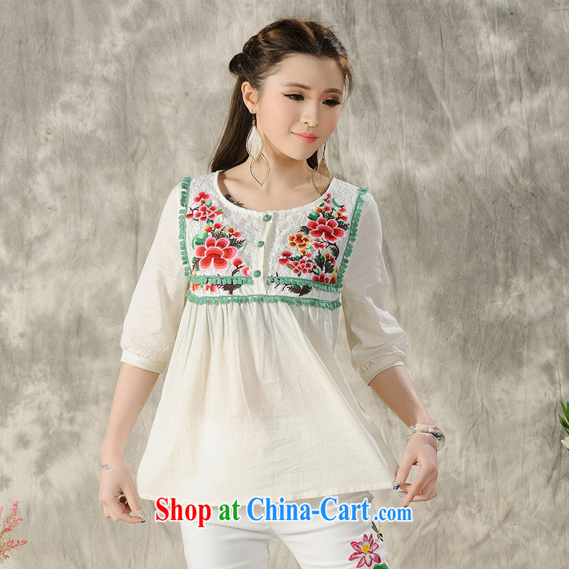 Health Concerns dress _ H 9601 National wind women's clothing 2015 spring and summer new larger embroidered cotton short-sleeved shirt T white 2XL