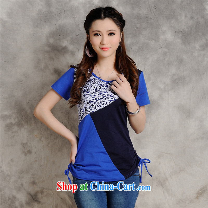 Health Concerns dress * W 8205 National wind women's clothing summer new round-collar embossed stitching cultivating graphics thin short-sleeve shirt T blue 2 XL