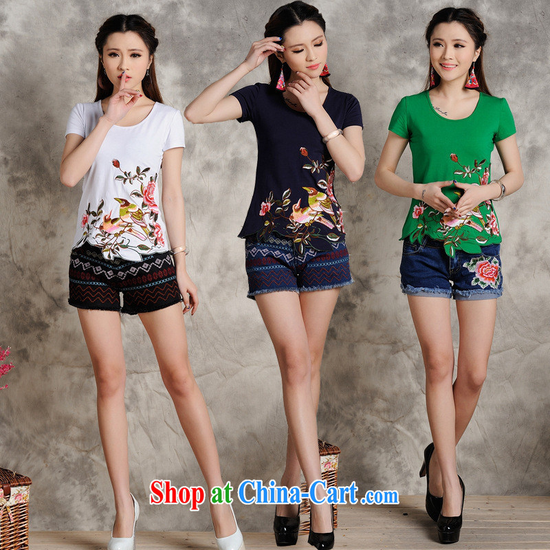 Health Concerns dress _ S 108 Ethnic Wind female spring and summer new embroidered not rule is cultivating short-sleeved cotton shirt T white 4XL