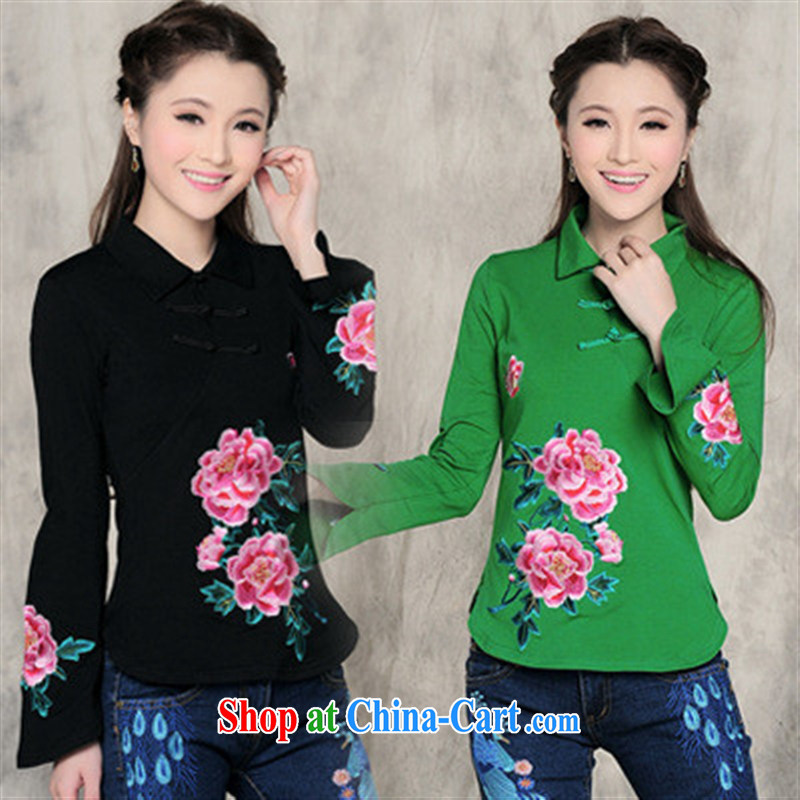 Health Concerns dress * L 5860 National wind girls spring loaded new small lapel horn cuff embroidered cotton T pension by red XXL