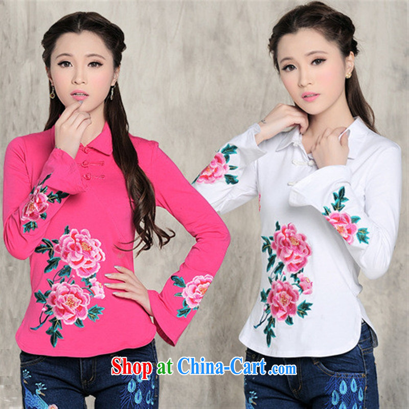 For health concerns dress * L 5860 National wind women's clothing spring new small lapel horn cuff embroidered cotton T pension by red XXL, health concerns (Rvie .), and, shopping on the Internet